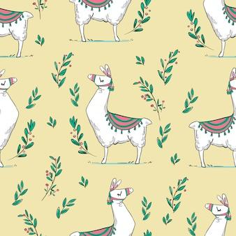 手描きかわいいラマパターンイラスト。子供のデザインポスター。 tシャツのプリント。