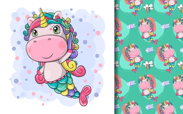 Hand drawn cute magical unicorn and pattern set