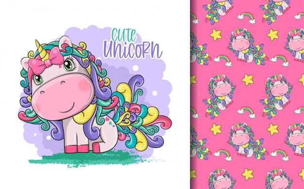 Hand drawn cute magical unicorn and pattern set
