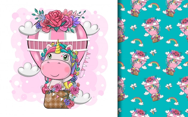 Hand drawn cute magical unicorn with air balloon and pattern set