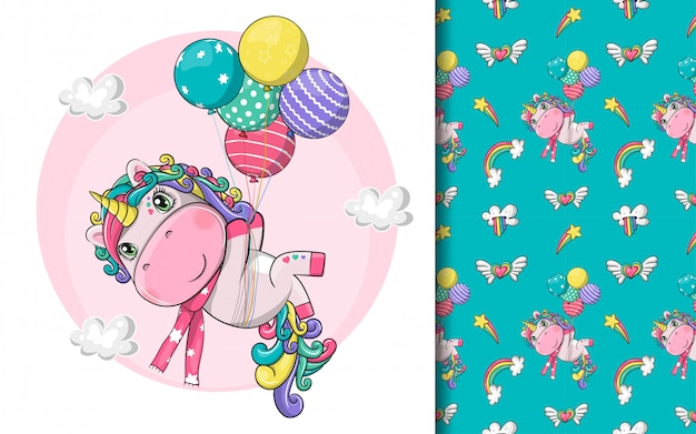 Hand drawn cute magical unicorn with balloons and pattern set