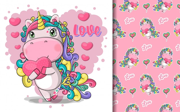 Hand drawn cute magical unicorn with heart and pattern set