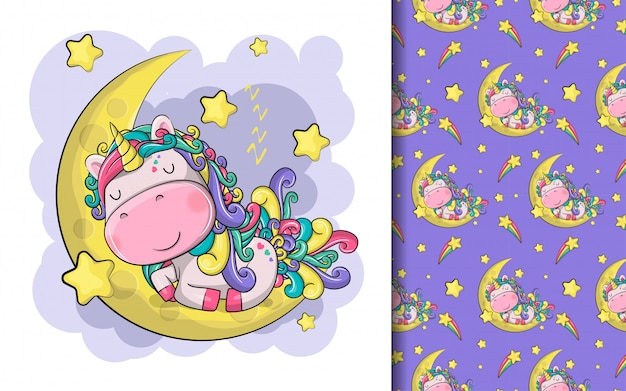 Hand drawn cute magical unicorn with moon and stars and pattern set