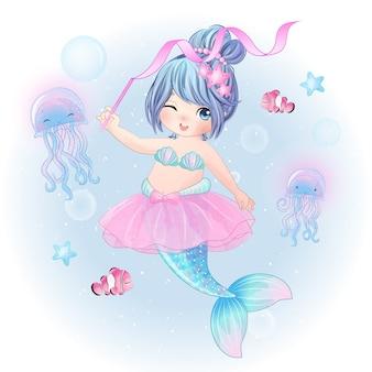 手描きかわいい人魚バレリーナ