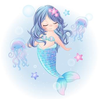 手描きかわいい人魚キャラクター