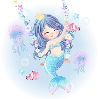 Hand drawn cute mermaid character