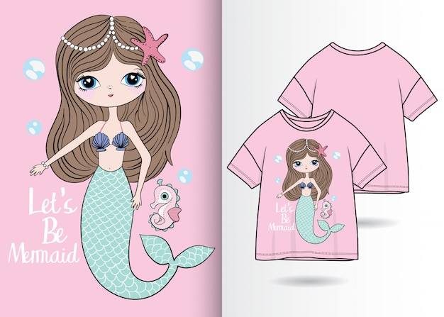 Hand drawn cute mermaid illustration with t shirt design