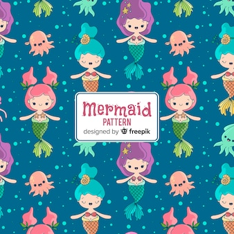 Hand drawn cute mermaid pattern