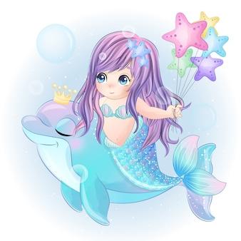 Рисованная милая русалка играет с дельфином