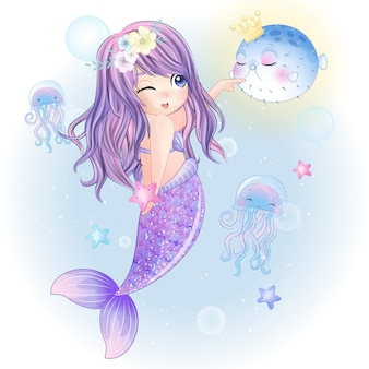 Hand drawn cute mermaid play with the fish