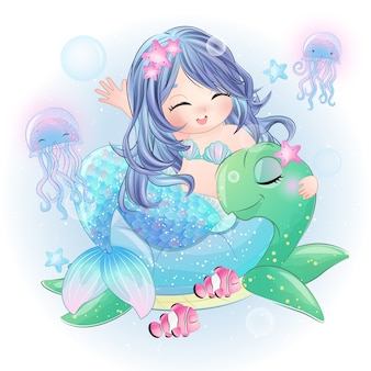 Нарисованная рукой милая русалка сидя в морской черепахе