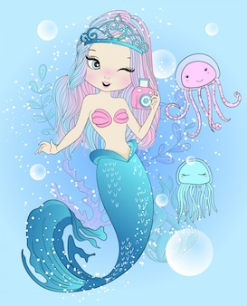 Hand drawn cute mermaid with jellyfish