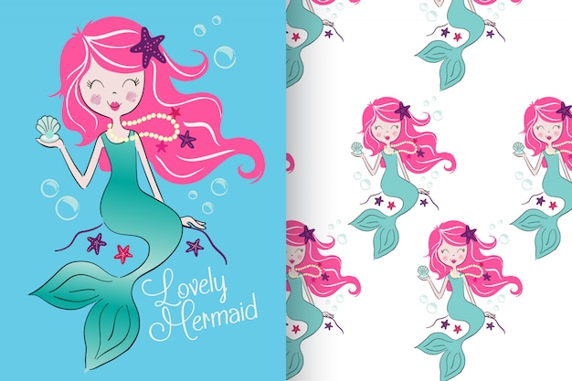 Hand drawn cute mermaid with pattern set