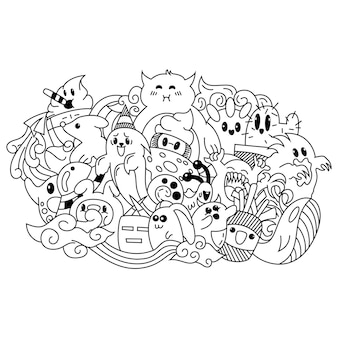 Hand drawn of cute monster doodle
