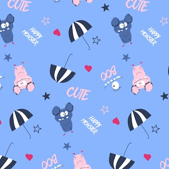 Hand drawn cute monster pattern vector