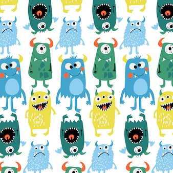 Hand drawn cute monster pattern