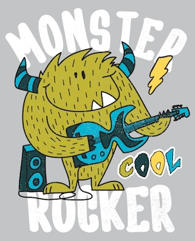 Hand drawn cute monster playing guitar