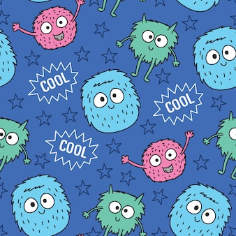 Hand drawn cute monster seamless pattern