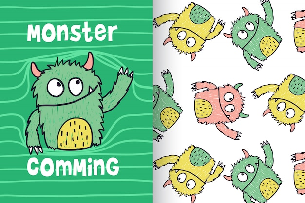 Hand drawn cute monster with pattern vector set