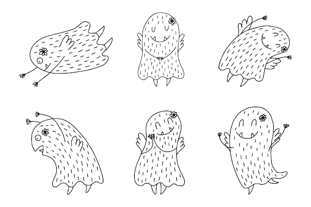 Hand drawn cute monsters on a white background.