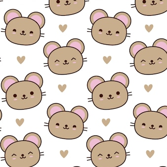 Hand drawn cute mouse pattern vector