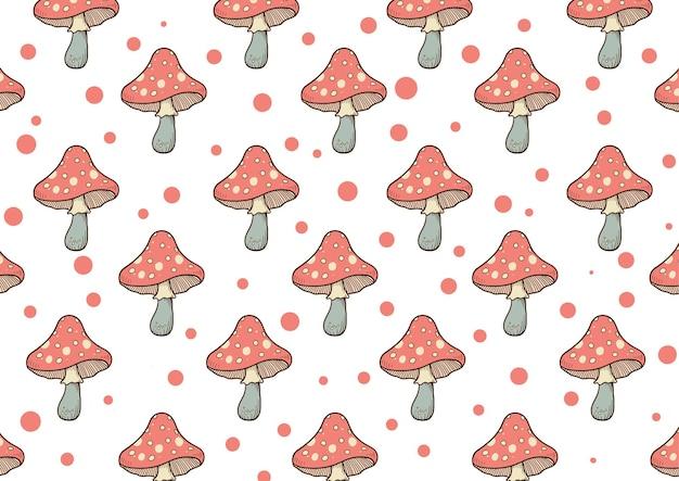 Ручной обращается милый грибной узор фона
