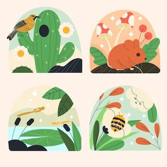 손으로 그린 귀여운 자연 컬렉션