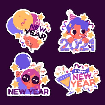Hand drawn cute new year collection