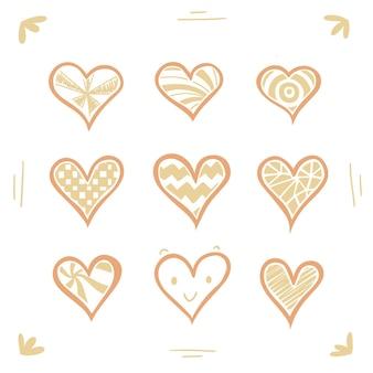 Набор рисованной милые обнаженные сердца вектор