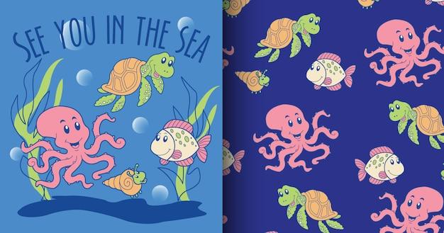 Hand drawn cute octopus pattern set