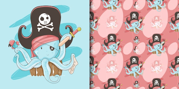 Hand drawn a cute octopus with a pirate custom