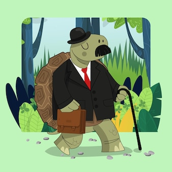 Hand drawn cute old boss turtle giant tortoise go to work with green forest background