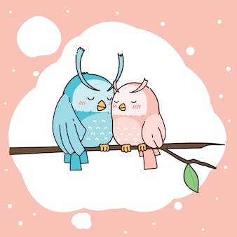Hand drawn cute owl couple character illustration.