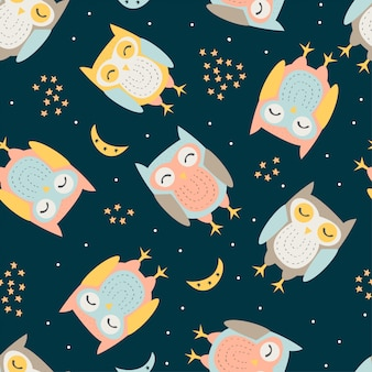 Hand drawn of cute owl with seamless pattern in the black backdrop
