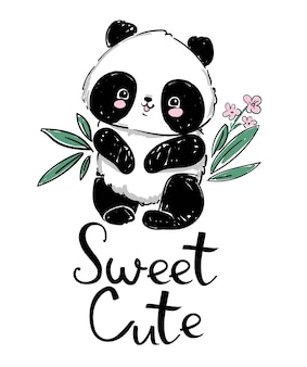 手描きかわいいパンダと竹。手書き