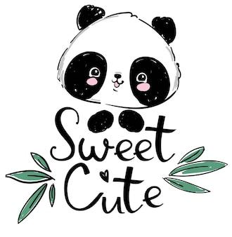 Hand drawn cute panda and bamboo. handwritten sweet cute.