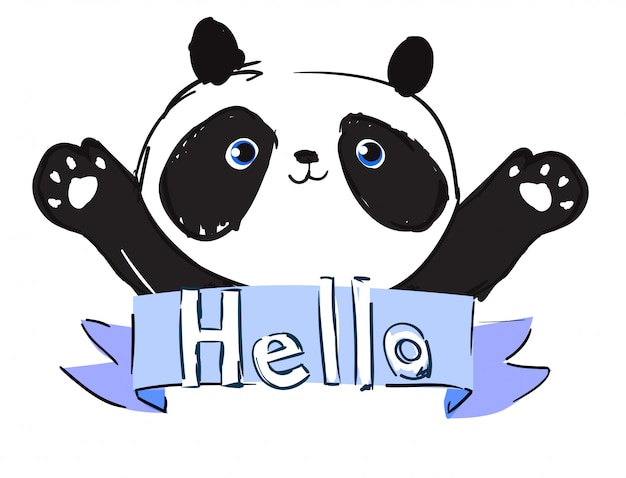 Hand drawn cute panda bear vector illustration