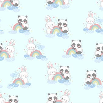 Hand drawn cute panda bear with rainbow seamless pattern
