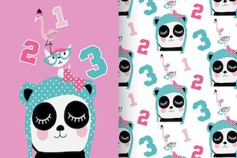 Hand drawn cute panda, kitty & flamingo with pattern vector set
