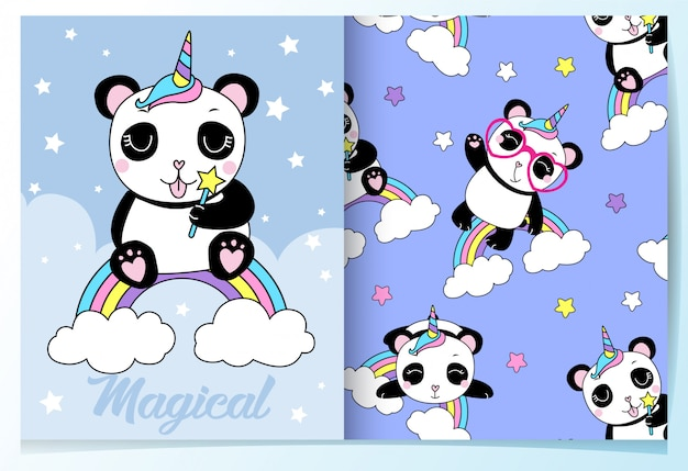 Hand drawn cute panda pattern set