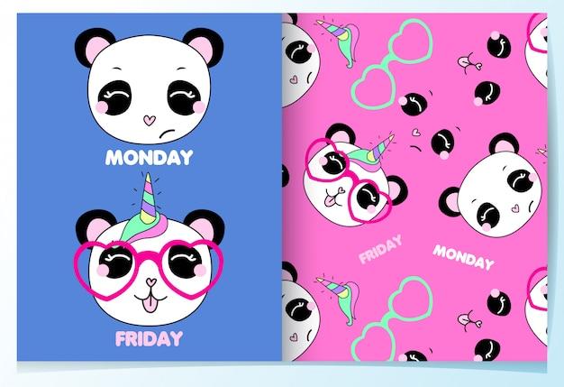 Hand drawn cute panda pattern set