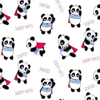 Hand drawn cute panda pattern vector
