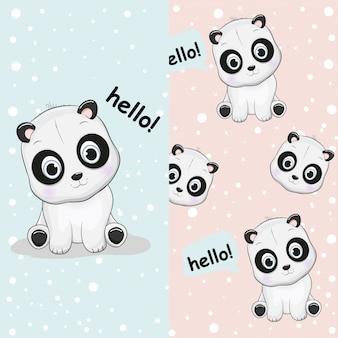 Hand drawn cute panda with pattern set