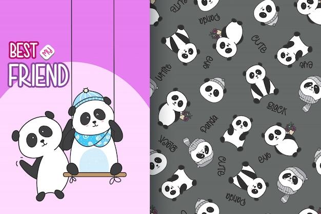 Hand drawn cute panda with pattern vector set