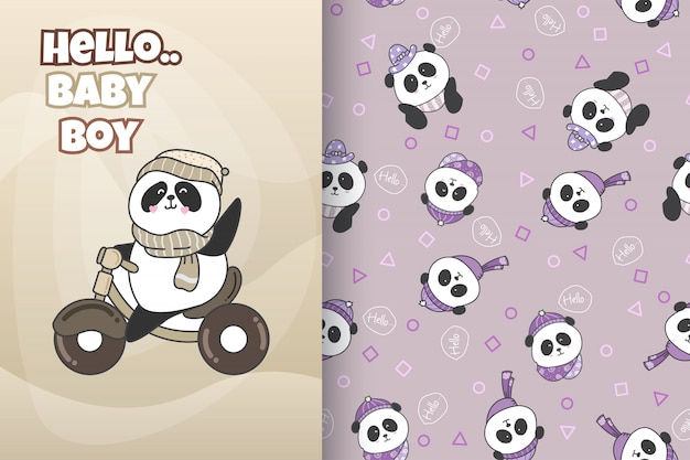 Hand drawn cute panda with pattern vector set