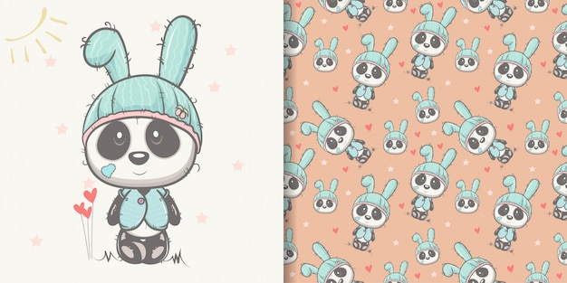 Hand drawn cute panda with seamless pattern set