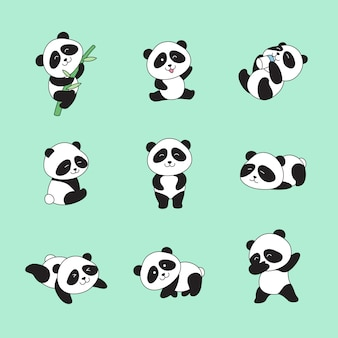 Hand drawn cute pandas