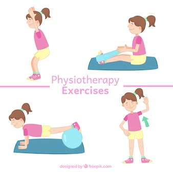 Hand-drawn cute patient doing physiotherapy exercises