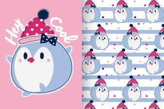 パターンが設定された手描きのかわいいペンギン