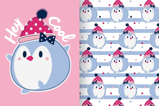 Hand drawn cute penguin with pattern set